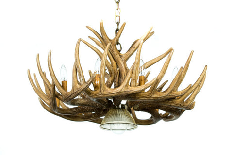 Whitetail 12 Antler Cascade Reproduction Chandelier with Downlight
