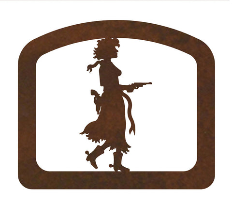 Pistol Cowgirl Metal Napkin Holder