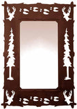"36"" Buck Deer Design Vertical Metal Wall Mirror"