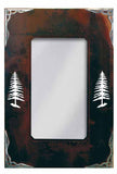 "36"" Pine Tree Vertical Burnished Metal Wall Mirror"
