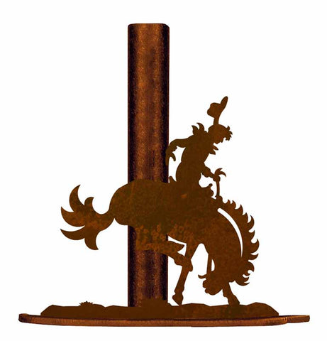 Bronc Rider Design Metal Paper Towel Holder