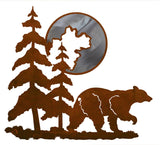 "Bear and Moon 20"" Burnished Metal Wall Art"