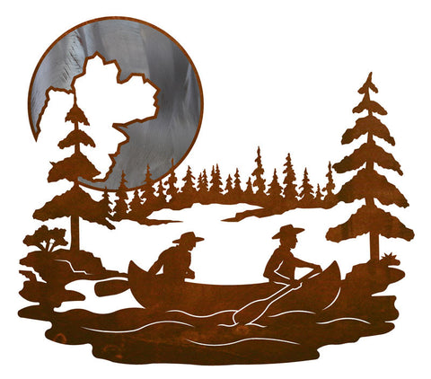 "Canoers & Moon Burnished 20"" Wall Art"