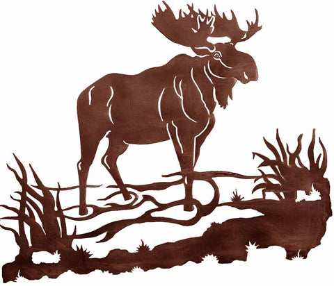 "Bull Moose Design 30"" Metal Wall Art"