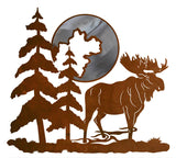 "Bull Moose and Moon 20"" Burnished Metal Wall Art"