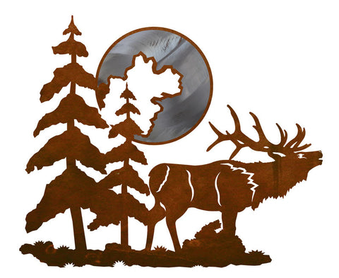 "Bull Elk and Moon 20"" Burnished Metal Wall Art"