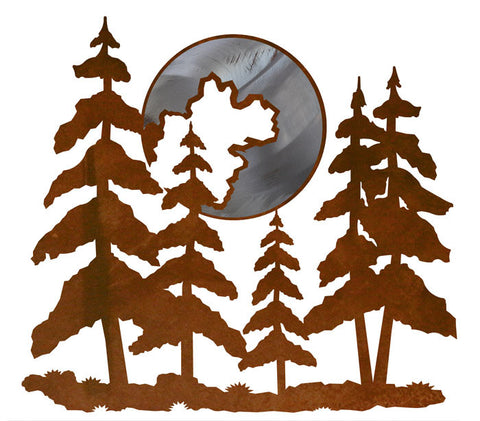 "Pine Trees & Moon Burnished 19"" Wall Art"