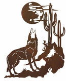 "Howling Coyote with Desert Scene 42"" Metal Wall Art"
