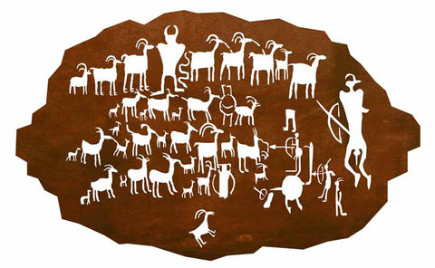 "The Great Hunt Panel 42"" Southwest Metal Wall Art"
