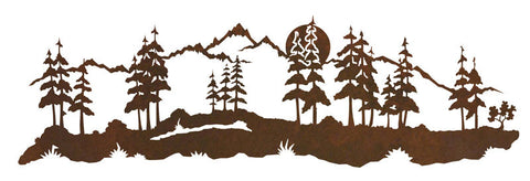 "Mountain Scene 42"" Rustic Metal Wall Decor"