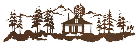 "Cabin with Pines 42"" Rustic Metal Wall Decor"