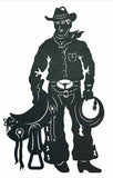 "Cowboy with Saddle 42"" Rustic Western Metal Decor"