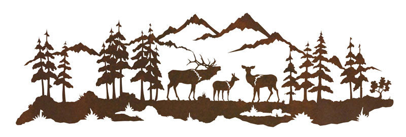 Elk Family 42 Inch Metal Wall Art Inspired By The Outdoors