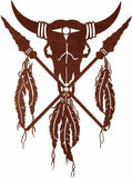 "Native American Buffalo Skull 42"" Southwest Metal Wall Art"