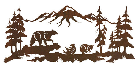 "Bear Family 57"" Metal Wall Art"