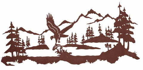"Fishing Eagle 57"" Metal Wall Art"