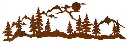 "Midnight Moon Mountain Scene 57"" Rustic Metal Wall Art"
