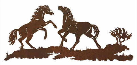 "Wild Horses 57"" Metal Wall Art"