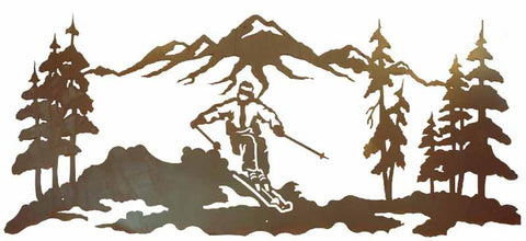 Skier Scenic 57 Inch Metal Wall Art