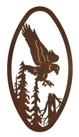 Eagle Design Vertical Oval Metal Wall Art