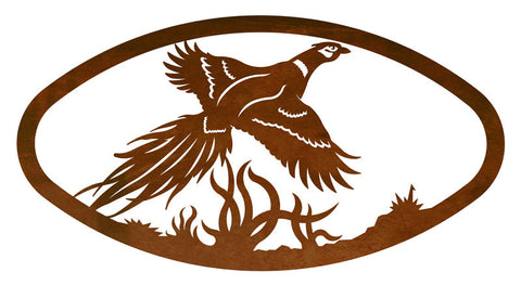 Pheasant Design Horizontal Oval Metal Wall Art