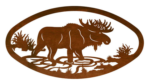 Bull Moose Design Horizontal Oval Metal Wall Art