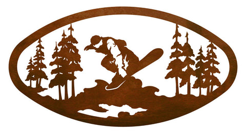Snowboarder in the Pines Rustic Metal Decor