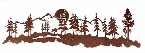 "Midnight Moon and Pine Forest 84"" Large Metal Wall Art"
