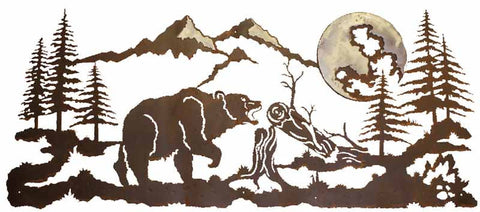 "Bear Design Burnished 57"" Metal Wall Art"