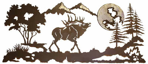"Bull Elk Burnished 57"" Metal Wall Art"