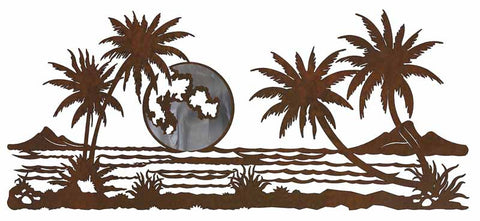 "Ocean Scene with Palm Trees Burnished 57"" Metal Wall Art"