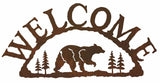 Bear with Pines Rustic Metal Welcome Sign
