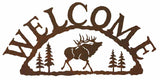 Bull Elk with Pines Rustic Metal Welcome Sign