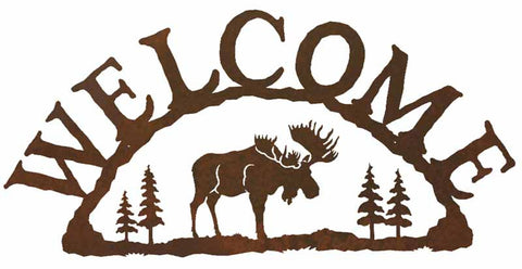 Moose with Pines Rustic Metal Welcome Sign