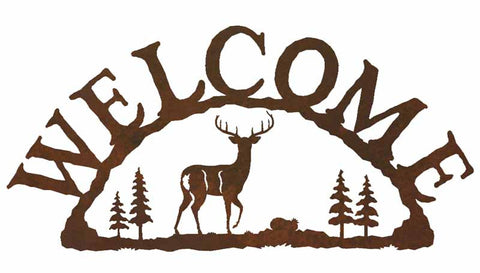 Whitetail Deer with Pines Welcome Sign