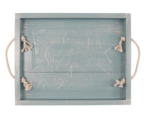 Weather Gray with Sea Shells Wood Serving Tray