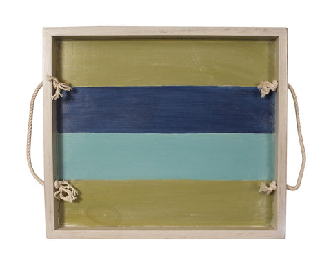 Nautical Stripe Large Wood Serving Tray