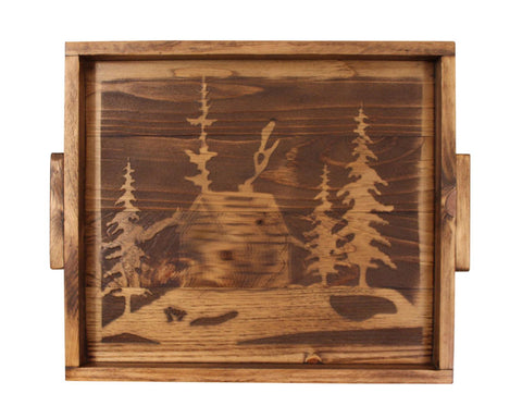 Cabin and Pine Tree Silhouette Wood Serving Tray