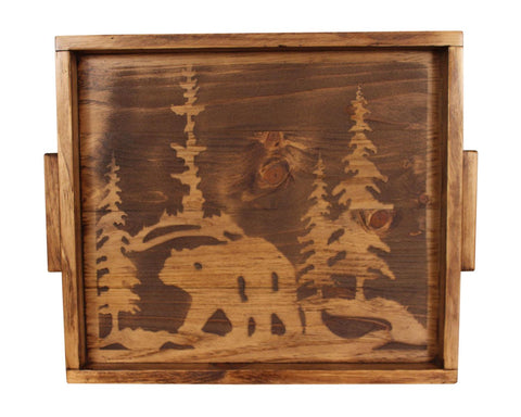 Bear and Pine Tree Silhouette Wood Serving Tray