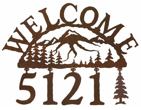 Mountain Scene Address Welcome Sign