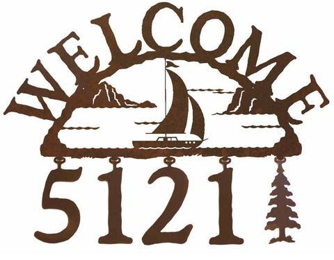Sail Boat Address Welcome Sign