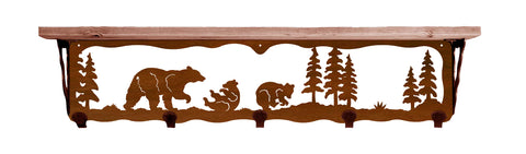 "Bear Family Metal 34"" Wall Shelf with Hooks"