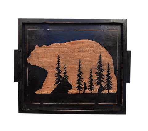 Bear and Pine Tree Black Stained Wood Serving Tray