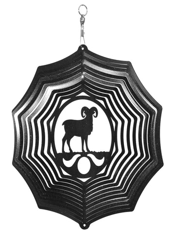 Big Horn Sheep Metal Wind Spinner