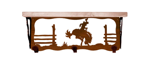 "Bronc Rider Metal 20"" Wall Shelf with Hooks"