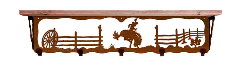 "Bronc Rider Metal 34"" Wall Shelf with Hooks"
