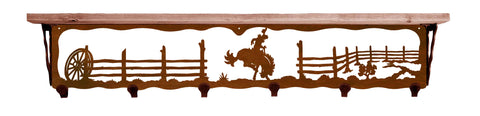 "Bronc Rider Metal 42"" Wall Shelf with Hooks"