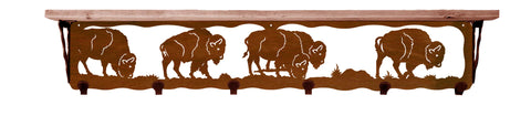 "Buffalo Metal 42"" Wall Shelf with Hooks"