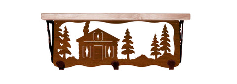 "Cabin in Pines Metal 20"" Wall Shelf with Hooks"