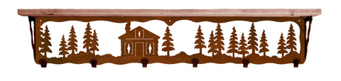 "Cabin in Pines Metal 42"" Wall Shelf with Hooks"